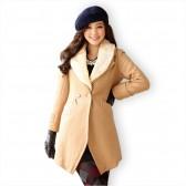 冬装新款欧美大牌韩版定制显瘦单扣毛领呢大衣/805