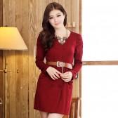 新款修身高贵优雅 双排扣真口袋圆领连衣裙配送腰带703