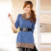 906蓝色 时尚豹纹围领宽松针织打底衫上衣(配腰带)