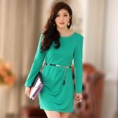 J709绿色 韩版收褶长袖圆领显瘦连衣裙