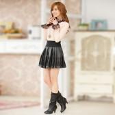 J523 超弦时尚PU皮短裙松紧腰百搭单裙