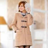 J710驼色  韩版冬装对扣连帽毛领呢大衣外套