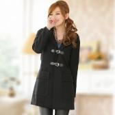 J710黑色 韩版冬装对扣连帽毛领呢大衣外套