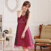 J9105紫红色  华丽美胸瘦腰V领吊带礼服连衣裙