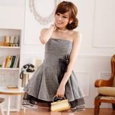 9213蓝色 夜宴盛装性感金丝网末胸礼服连衣裙(送隐型肩带)