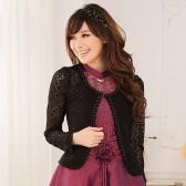 13秋新款 9351黑色 韩版淑女甜美百搭镂空蕾丝钉珠长袖披肩小外套
