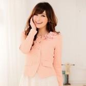 9354粉色 韩版修身气质OL长袖花朵休闲小西装短外套