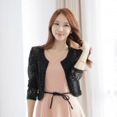 9355黑色 淑女长袖钉珠花边镂空蕾丝短外套女装修身小外套开衫披肩