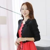 9230黑色 韩版修身显瘦新款时尚甜美花边短款泡泡袖花瓣小外套披肩(送胸花)