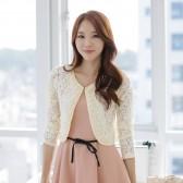 9355杏色 淑女长袖钉珠花边镂空蕾丝短外套女装修身小外套开衫披肩