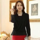 9914黑色 韩版时尚白领四季百搭长袖雪纺衫不规则显瘦大码上衣