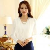 9914白色   韩版时尚白领四季百搭长袖雪纺衫不规则显瘦大码上衣