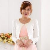 9618白色 甜美重工钉珠开衫针织小外套大码百搭短外套婚纱礼服披肩上衣