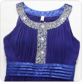 9625蓝色 欧美风圆领重手工钉珠亮片大钻雪纺大码长礼服连衣裙
