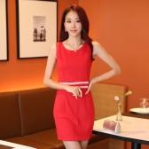9824红色 韩版收腰显瘦包臀百搭打底裙包裙一步裙大码坎肩连衣裙
