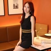 9824黑色 韩版收腰显瘦包臀百搭打底裙包裙一步裙大码坎肩连衣裙