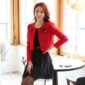 9919红色 韩版小香风西装开衫大码小外套长袖百搭披肩上衣(送配饰)