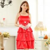 9923红色  甜美时尚钻扣抹胸姐妹裙晚礼服伴娘裙大码小礼服公主裙