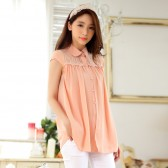 9841粉色 韩版宽松短袖雪纺衫开衫翻领大码上衣