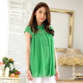 9841绿色  韩版宽松短袖雪纺衫开衫翻领大码上衣