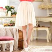 9641杏色  时尚不规则松紧腰雪纺中裙百搭大码单裙