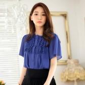 9844蓝色  韩版宽松休闲雪纺中袖百搭排扣大码上衣衬衫