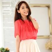 9844桃红色  韩版宽松休闲雪纺中袖百搭排扣大码上衣衬衫