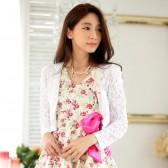 9738白色   韩版甜美蕾丝长袖开衫百搭小外套大码礼服披肩