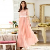 9843粉色 高雅唯美蕾丝钉珠雪纺长款晚礼服晚会主持大码连衣裙