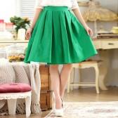 9739绿色  时尚芭比百搭中裙松紧腰压褶大码单裙