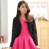9646黑色  韩版百搭小开衫长袖短款蕾丝小坎肩大码小披肩短外套上衣