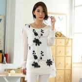 9743白色 时尚简约雪纺刺绣长袖衬衫宽松上衣中长款大码打底衫