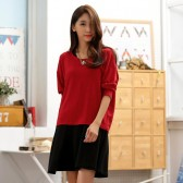 9650红上衣 韩版休闲宽松圆领纯色针织撞色长袖大码两件套连衣裙