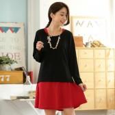 9650黑上衣 韩版休闲宽松圆领纯色针织撞色长袖大码两件套连衣裙