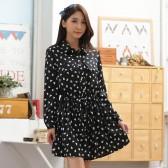 9649黑色 韩版中长款休闲宽松长袖仿真丝印花抽腰百搭大码连衣裙