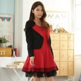94748黑上衣红裙 韩版百搭气质背心裙长袖小西装两件套大码套装