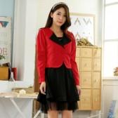 94748红上衣黑裙 韩版百搭气质背心裙长袖小西装两件套大码套装