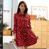 9649红色  韩版中长款休闲宽松长袖仿真丝印花抽腰百搭大码连衣裙