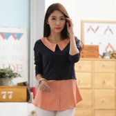 9652粉色 韩版百搭撞色修身针织衫假两件套大码上衣