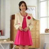 93839杏上衣玫红裙  套装韩版OL百搭休会晚礼服长袖大码两件套套装