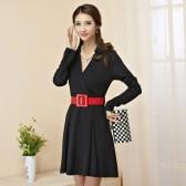 9852黑色  时尚韩版大牌风修身V领长袖两用袖针织大码中长款连衣裙(配腰带)