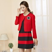 9851红上衣黑裙  韩版喜庆长袖圆领小外套中长款显瘦拼色大码两件套连衣裙套装