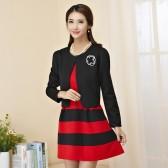 9851黑上衣红裙  韩版喜庆长袖圆领小外套中长款显瘦拼色大码两件套连衣裙套装