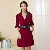 9852紫红  时尚韩版大牌风修身V领长袖两用袖针织大码中长款连衣裙(配腰带)