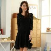 9654黑色  甜美蕾丝公主裙小香风钉珠长袖高雅大码礼服连衣裙