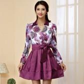 9940紫色 新款韩版修身V领长袖中长款印花晚礼服大码小礼服连衣裙