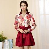 9940红色 新款韩版修身V领长袖中长款印花晚礼服大码小礼服连衣裙