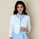 9948白色  OL百搭长袖短款小外套礼服披肩空调衫大码小西装上衣