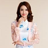 9664粉色 甜美韩版百搭蕾丝长袖小外套四季衫大码礼服披肩