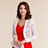 9664白色  甜美韩版百搭蕾丝长袖小外套四季衫大码礼服披肩
